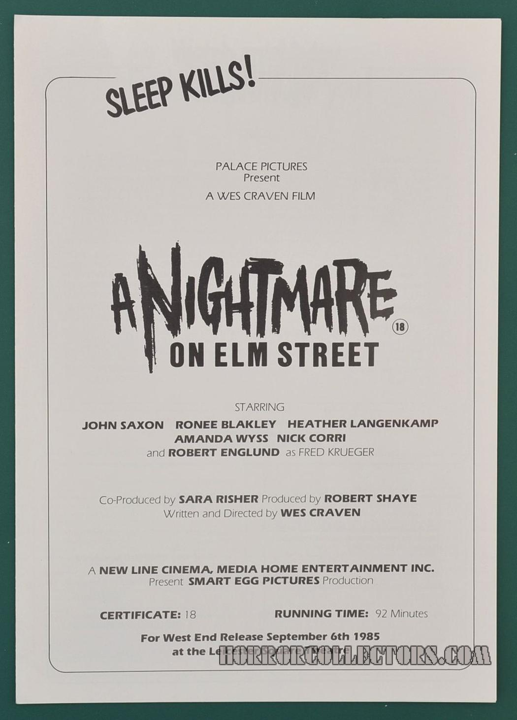 A Nightmare on Elm Street UK Palace Pictures press sheet synopsis