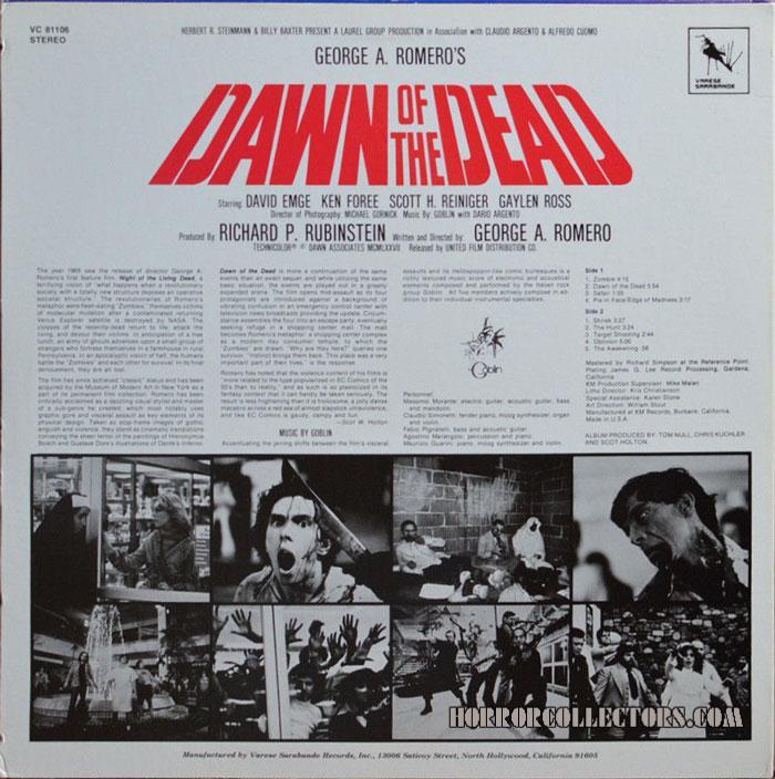 VC 81106 Dawn of the Dead USA Varese Sarabande Goblin Soundtrack LP