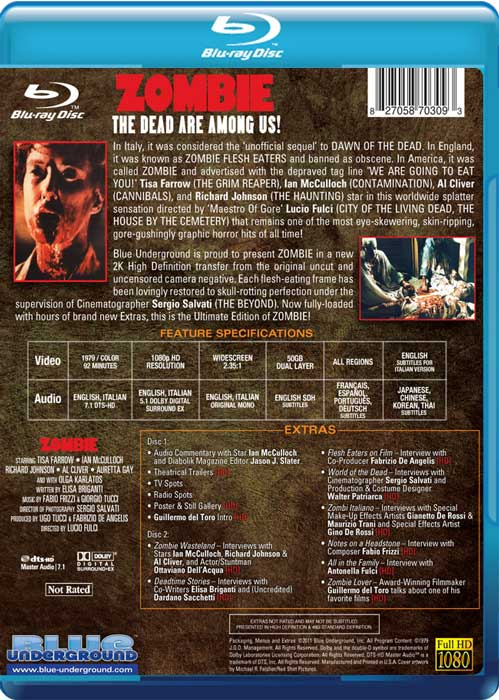 Zombie Blue Underground 2-Disc Ultimate Edition Blu-ray back