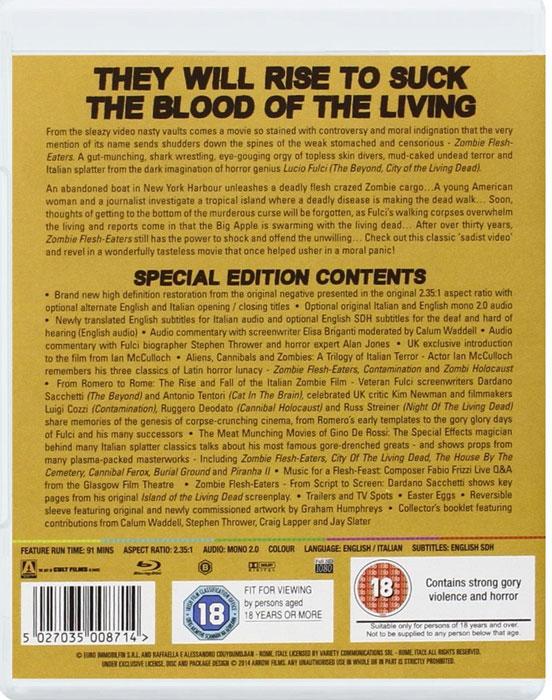 Zombie Flesh Eaters Arrow Video UK Blu-ray back