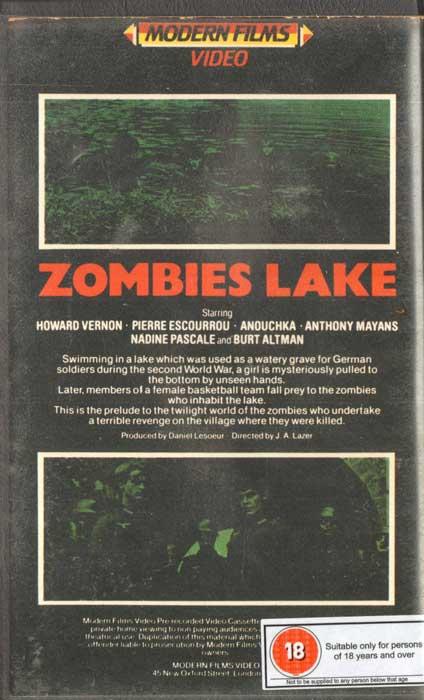 Zombies Lake UK Modern Films VHS Video back
