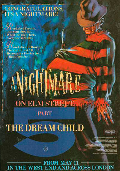 A Nightmare on Elm Street 5 The Dream Child Pregnant Freddy Krueger poster