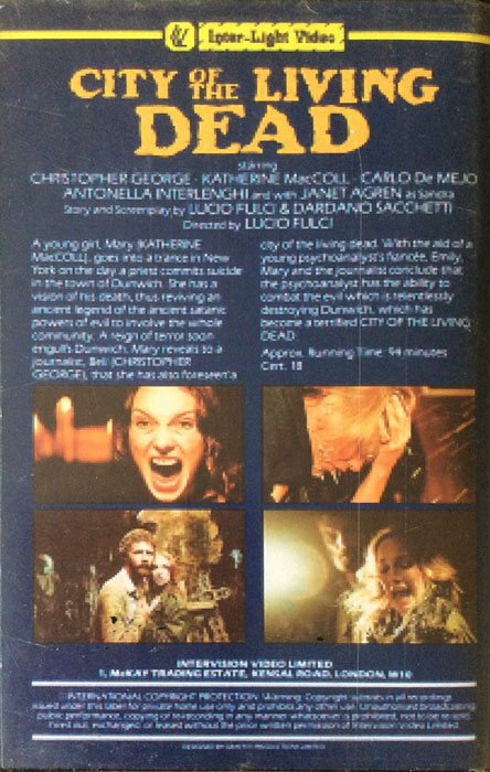 City of the Living Dead Inter Light VHS Video back