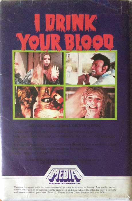 I DRINK YOUR BLOOD Pre-cert Media VHS back