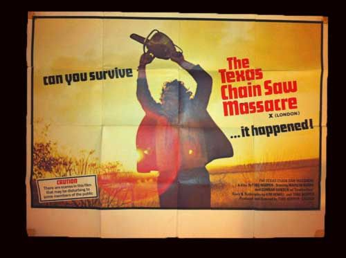 TEXAS CHAINSAW MASSACRE BRITISH QUAD POSTER ORIGINAL X CERT LONDON VERSION