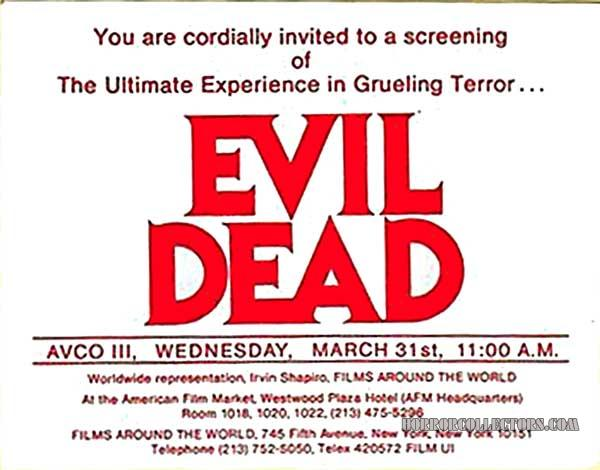 THE EVIL DEAD 1982 AFM premiere screening invitation