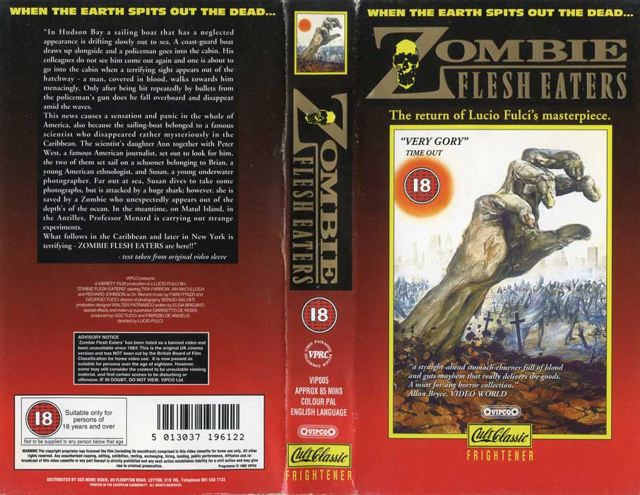 Zombie Flesh Eaters UK Vipco 1992 Cult Classics VHS Video SLEEVE