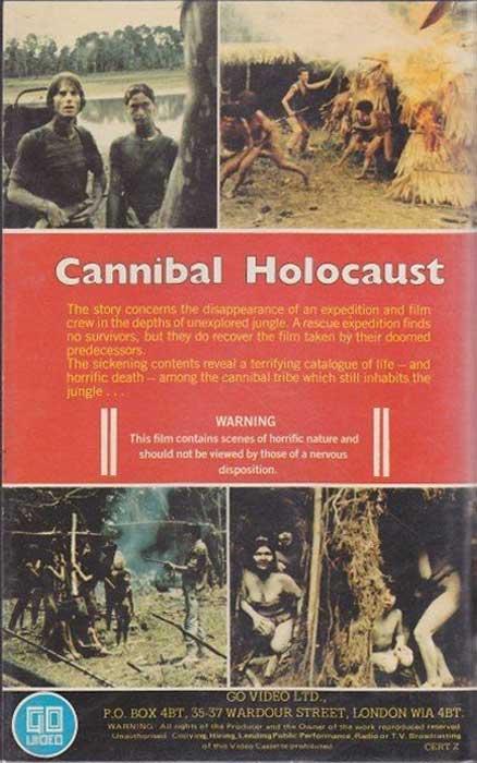 Cannibal Holocaust UK Go Video VHS Video back