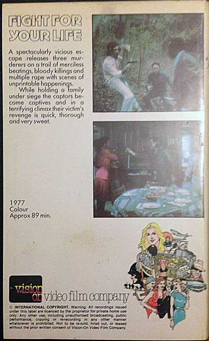 Fight For Your Life UK Vision On Video Pre Cert VHS Video back