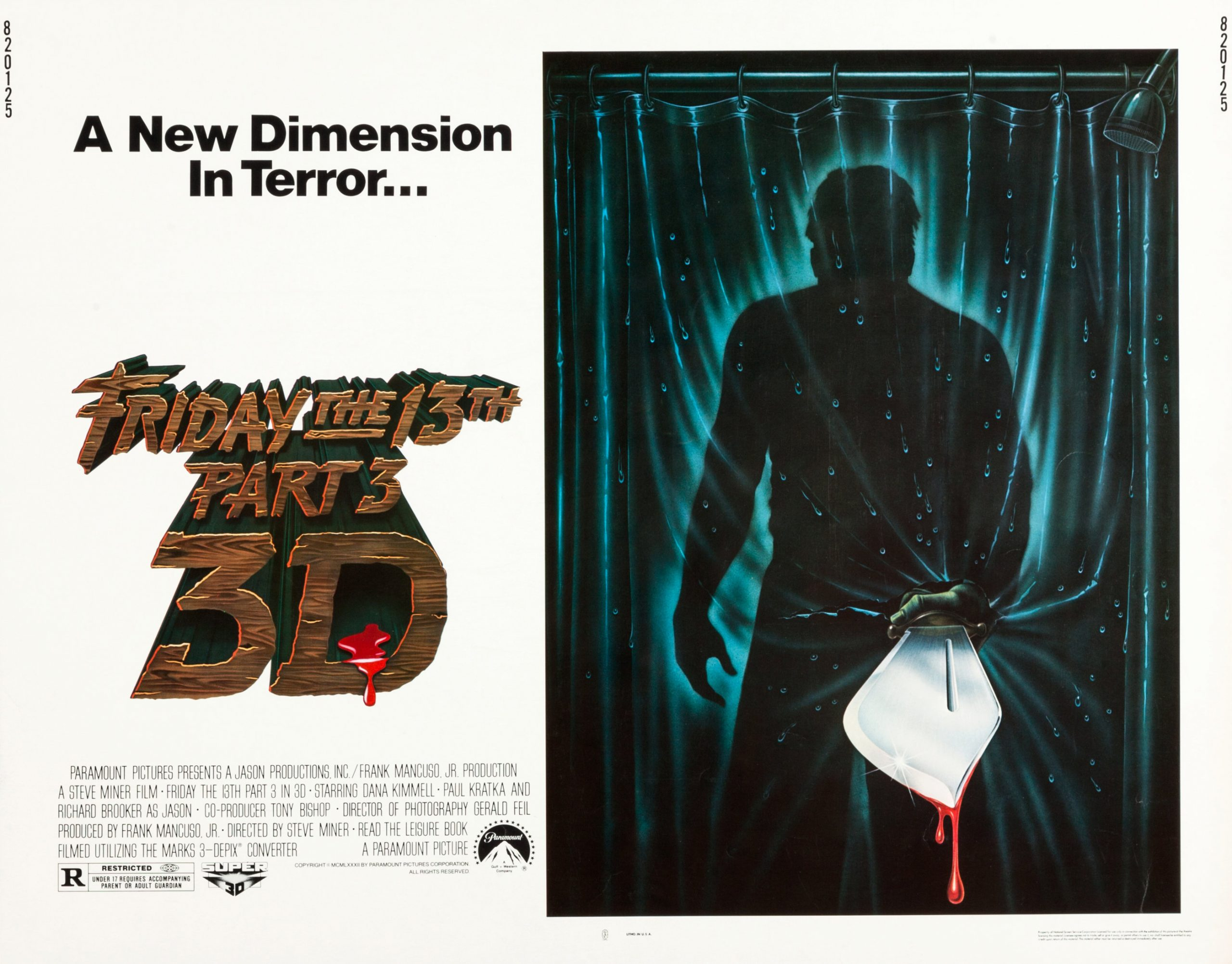 Friday the 13th part 3 in 3D Half Sheet movie poster