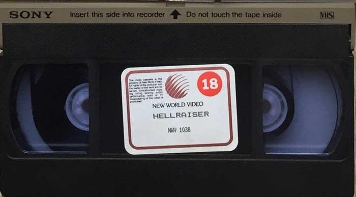 Hellraiser UK New World Video VHS tape