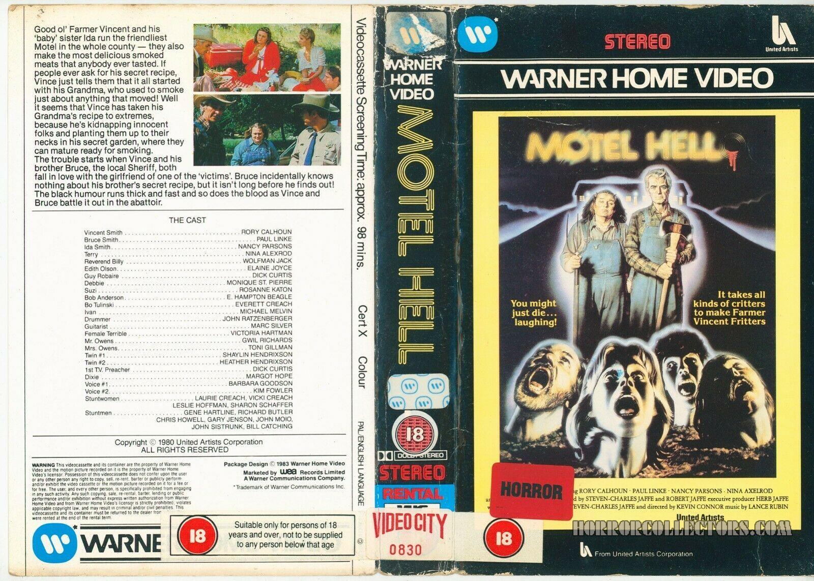 Motel Hell UK Warner Home Video Pre Cert VHS