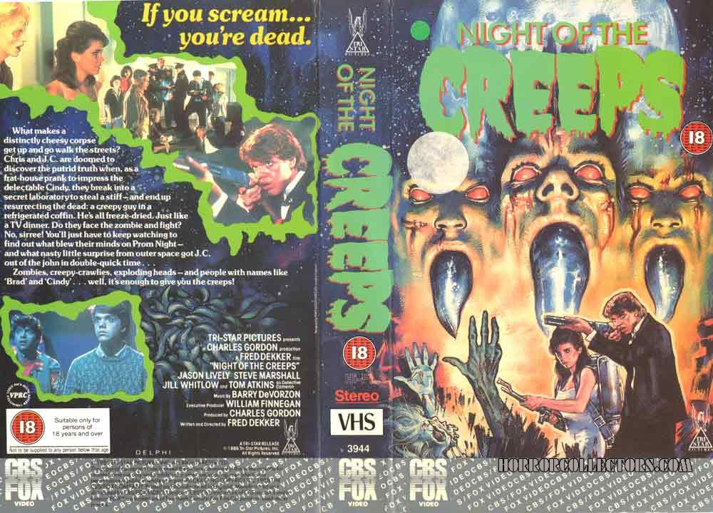 NIGHT OF THE CREEPS B side COVER VHS UK