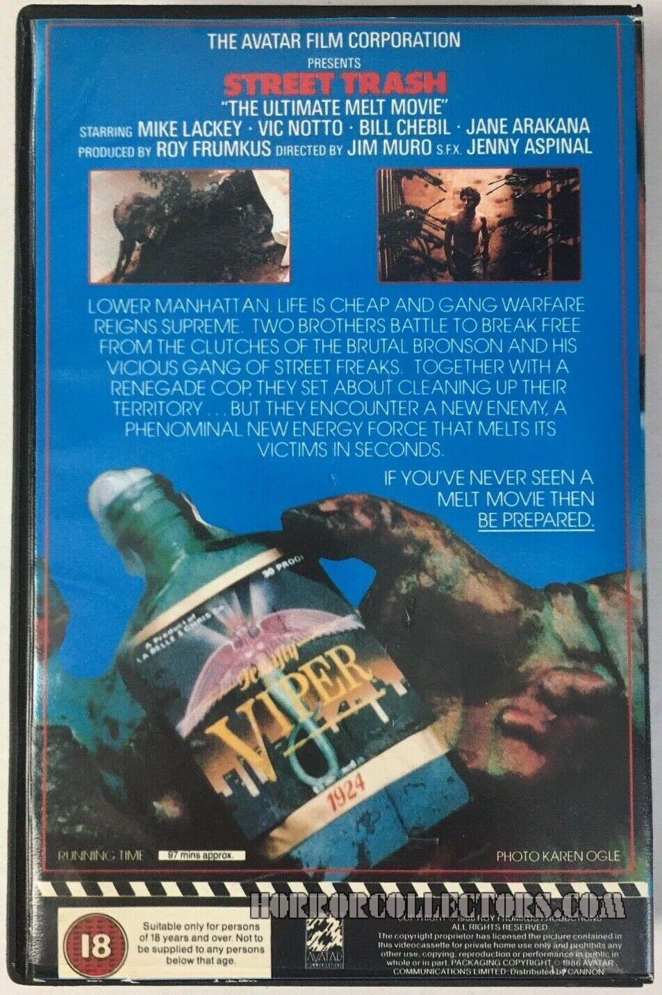 Street trash VHS UK Avatar back Cover