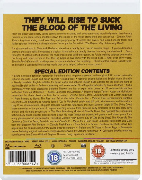 Zombie Flesh Eaters Arrow Video UK Blu-ray back