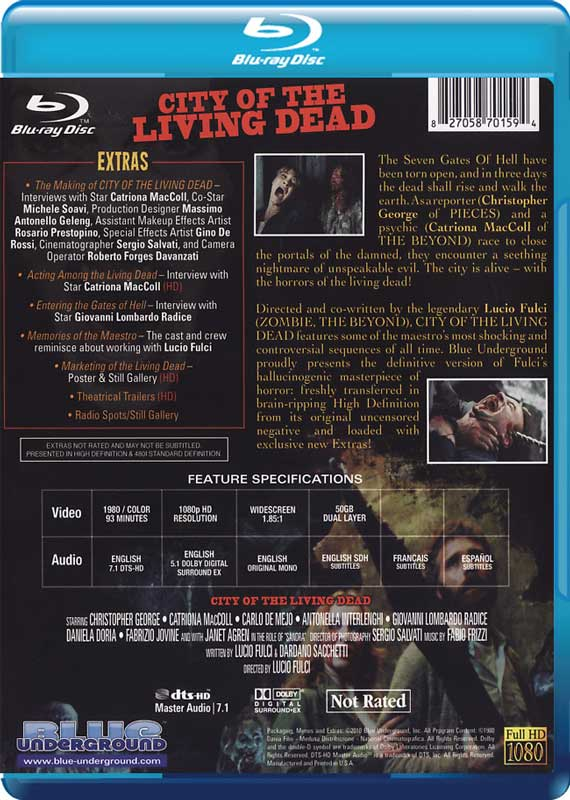 City of the Living Dead Blue Underground Blu-ray Disc back