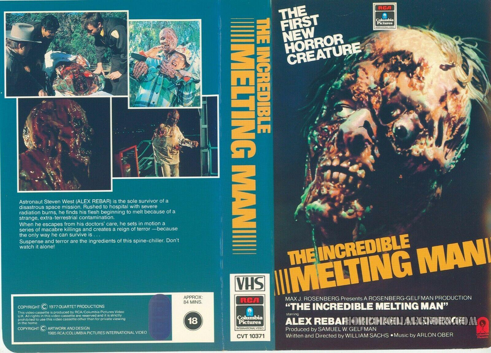 THE INCREDIBLE MELTING MAN UK RCA Columbia Pre Cert VHS Video