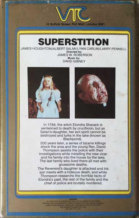 Superstition UK VTC Pre Cert VHS Video back