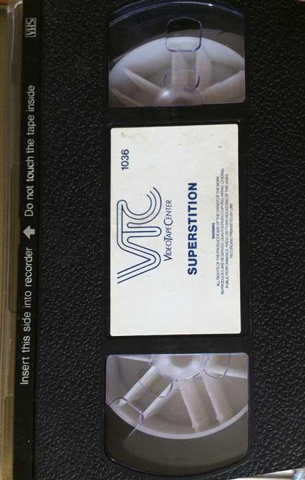 Superstition UK VTC Pre Cert VHS Video label