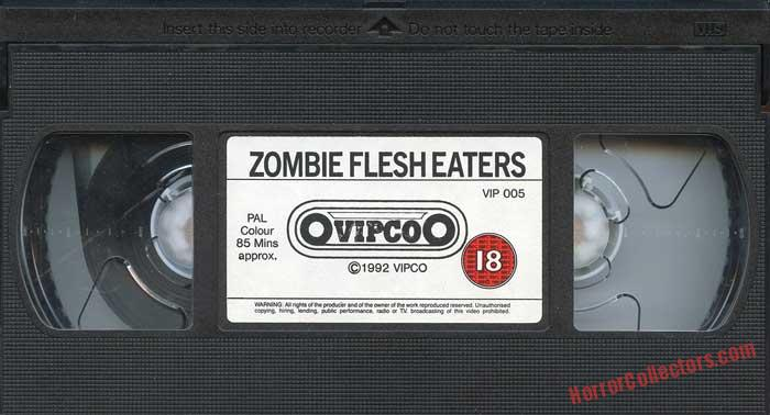 Zombie Flesh Eaters UK Vipco 1992 Cult Classics VHS Video TAPE